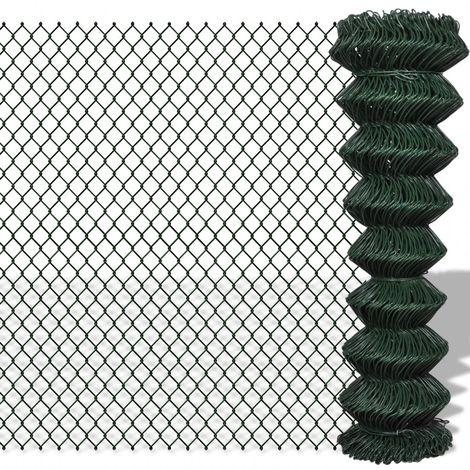 Hommoo Valla de tela metálica acero galvanizado verde 1,5x25 m