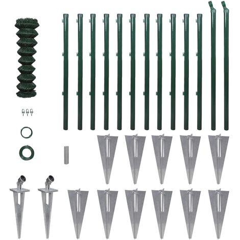Hommoo Valla metálica con estacas postes acero galvanizado 1x25m