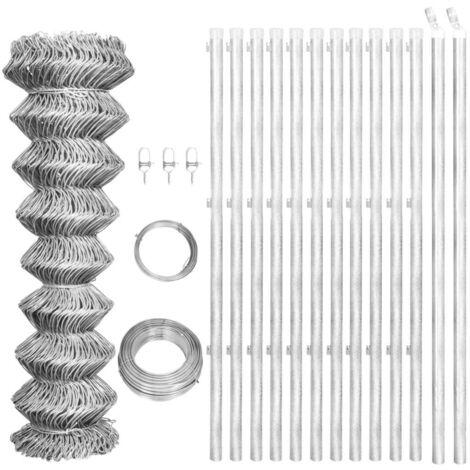 Hommoo Valla tela metálica y postes acero galvanizado plata 25x1,25 m