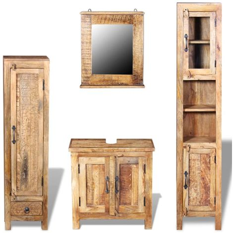 Hommoo Vanity Cabinet with Mirror and 2 Side Cabinets Solid Mango Wood