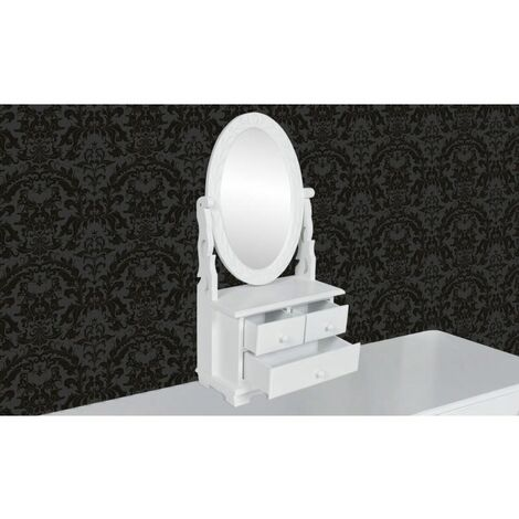 Hommoo Vanity Makeup Table with Oval Swing Mirror MDF QAH30943