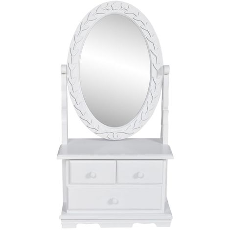 Hommoo Vanity Makeup Table with Oval Swing Mirror MDF VD30943