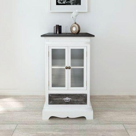 Hommoo Vitrina baja con dos puertas y un cajón de madera blanca