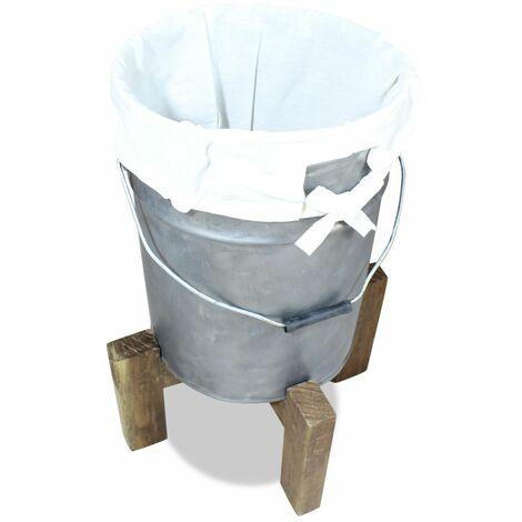 Hommoo Wäschekorb Eisen Verzinkt Altholz Massiv 30 x 30 x 58 cm DDH10602