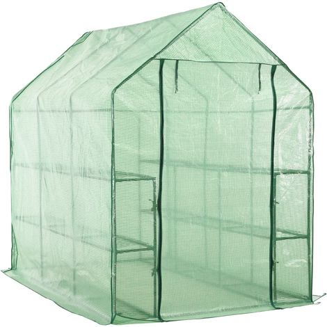 Hommoo Walk-in Greenhouse with 12 Shelves Steel 143x214x196 cm