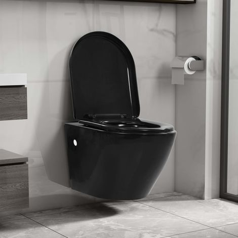 Hommoo Wall Hung Rimless Toilet Ceramic Black VD35037