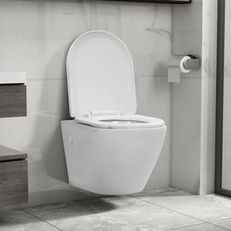 Hommoo Wall Hung Rimless Toilet Ceramic White VD35036