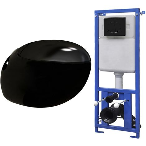 Hommoo Wall Hung Toilet Egg Design with Concealed Cistern Black
