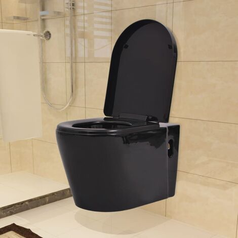 Hommoo Wall Hung Toilet with Concealed Cistern Ceramic Black QAH17661