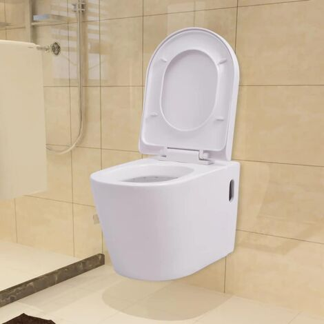 Hommoo Wall Hung Toilet with Concealed Cistern Ceramic White QAH17660