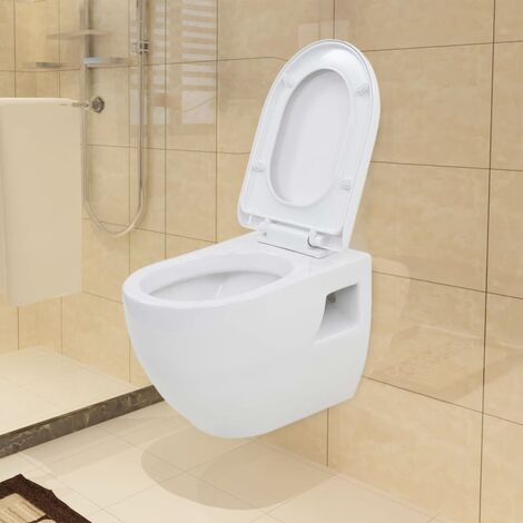 Hommoo Wall-Hung Toilet with Concealed Cistern Ceramic White QAH18682