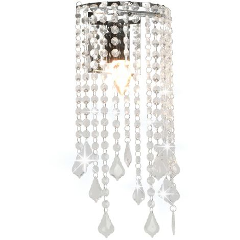 Hommoo Wall Lamp with Crystal Beads Silver Rectangular E14 Bulbs