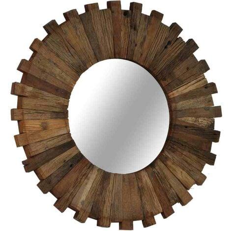 "main image of ""Hommoo Wall Mirror Solid Reclaimed Sleeper Wood 50 cm VD12244"""