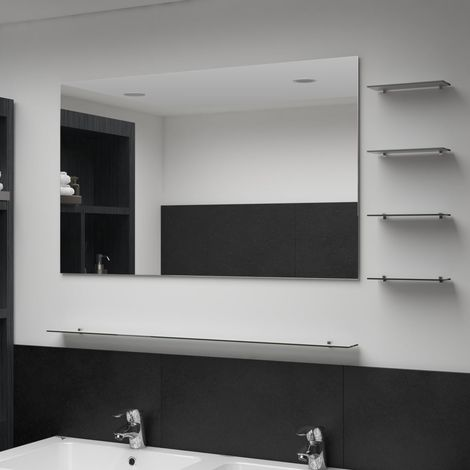Hommoo Wall Mirror with 5 Shelves Silver 100x60 cm