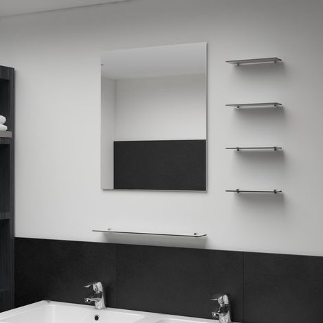 Hommoo Wall Mirror with 5 Shelves Silver 50x60 cm