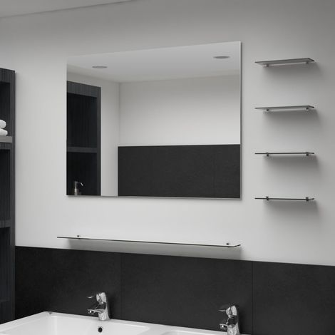 Hommoo Wall Mirror with 5 Shelves Silver 80x60 cm
