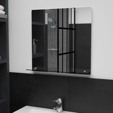 Hommoo Wall Mirror with Shelf 50x50 cm Tempered Glass