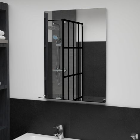 Hommoo Wall Mirror with Shelf 50x70 cm Tempered Glass