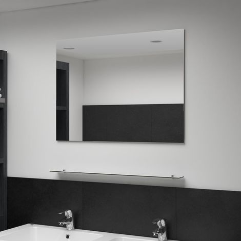 Hommoo Wall Mirror with Shelf 80x60 cm Tempered Glass