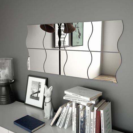 Hommoo Wall Mirrors 8 pcs 20x20 cm Wave Glass