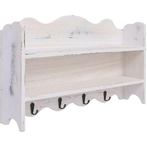 Hommoo Wall Mounted Coat Rack White 50x10x30 cm Wood VD24776