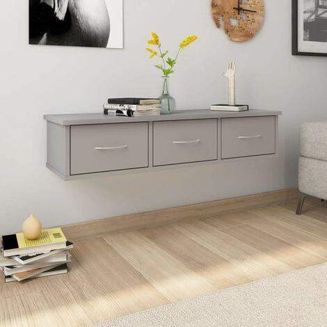 Hommoo Wall-mounted Drawer Shelf Grey 90x26x18.5 cm Chipboard