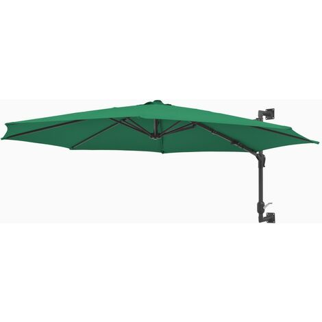 Hommoo Wall-Mounted Parasol with Metal Pole 300 cm Green QAH29044