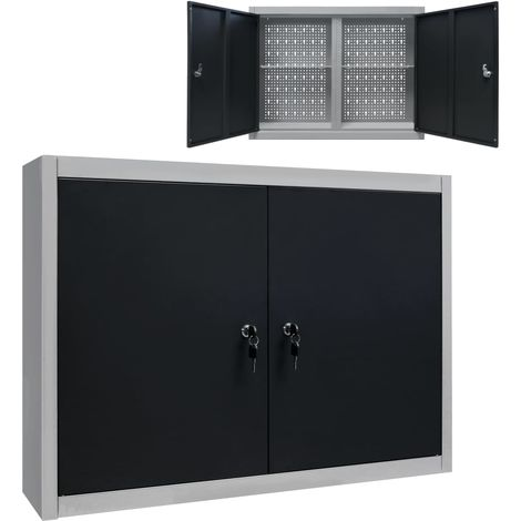 Hommoo Wall Mounted Tool Cabinet Industrial Style Metal Grey and Black
