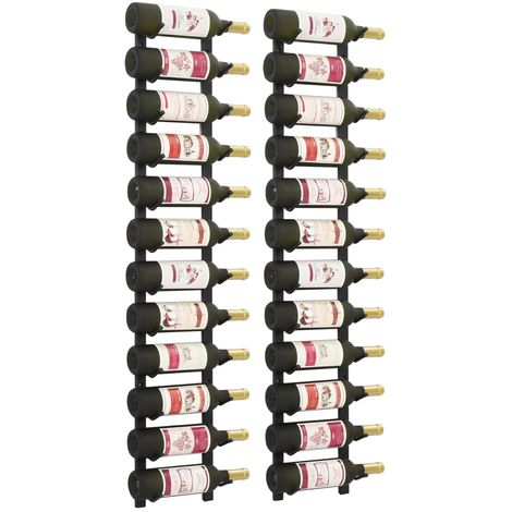 Hommoo Wall Mounted Wine Racks for 12 Bottles 2 pcs Black Iron