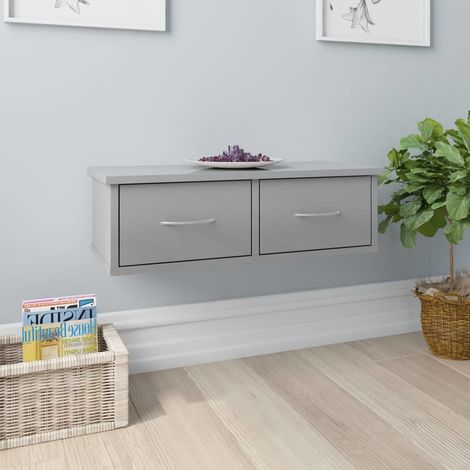 Hommoo Wand-Schubladenregal Hochglanz-Grau 60x26x18,5 cm Spanplatte VD31627
