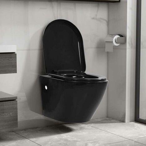 Hommoo Wand-WC ohne Spülrand Keramik Schwarz VD35037