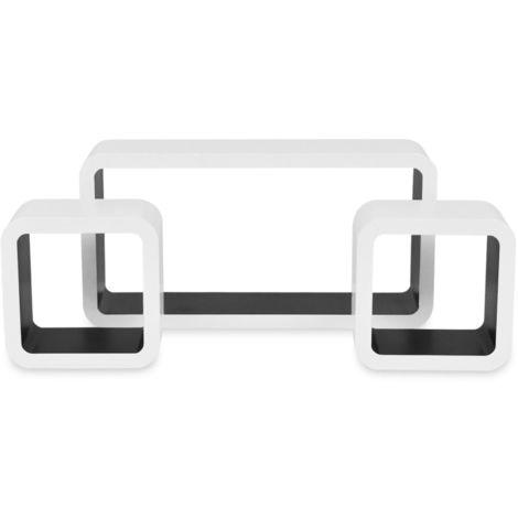 Hommoo Wandregale Regalwürfel 6 Stk. Weiß und Schwarz - VD18867_DE