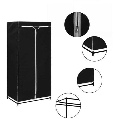 Hommoo Wardrobe Black 75x50x160 cm