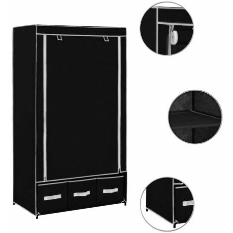 Hommoo Wardrobe Black 87x49x159 cm Fabric QAH23570