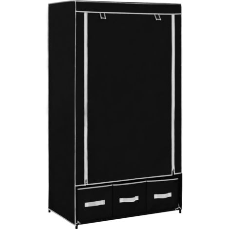 Hommoo Wardrobe Black 87x49x159 cm Fabric VD23570