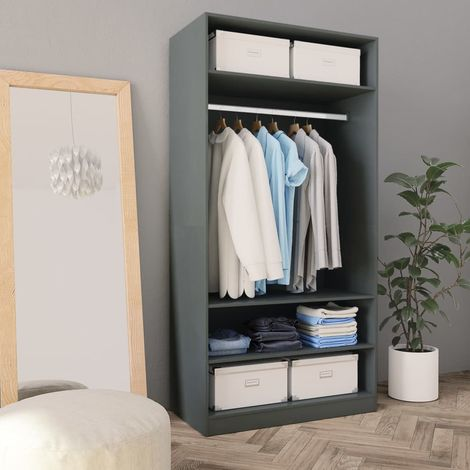 Hommoo Wardrobe Grey 100x50x200 cm Chipboard VD31256