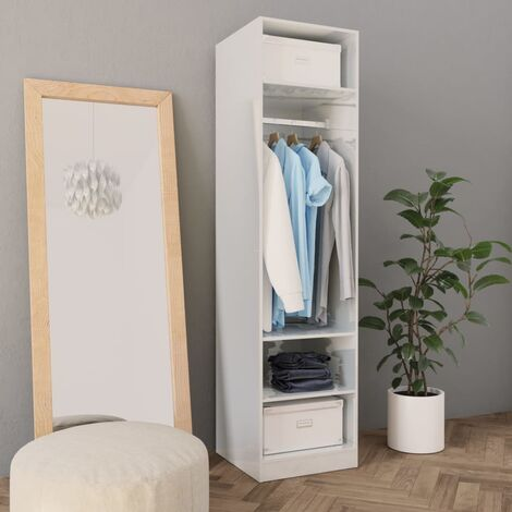 Hommoo Wardrobe High Gloss White 50x50x200 cm Chipboard