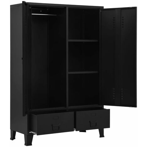 Hommoo Wardrobe Industrial Black 90x40x140 cm Steel QAH35094