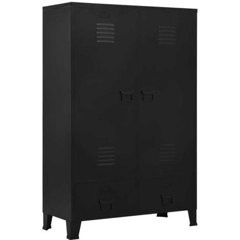 Hommoo Wardrobe Industrial Black 90x40x140 cm Steel VD35094