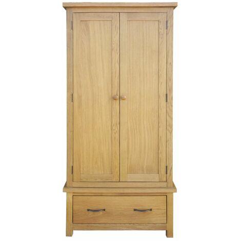 Hommoo Wardrobe with 1 Drawer 90x52x183 cm Solid Oak Wood QAH09675