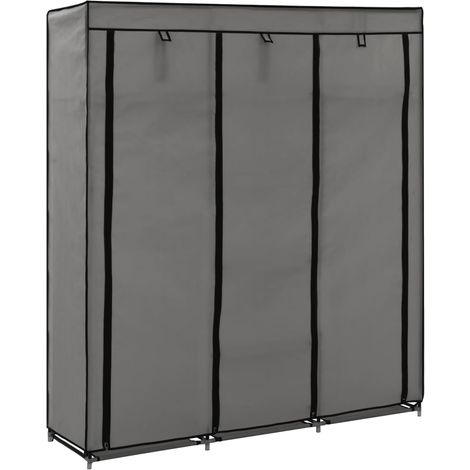Hommoo Wardrobe with Compartments and Rods Grey 150x45x175 cm Fabric
