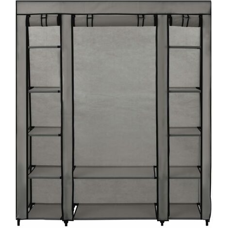 Hommoo Wardrobe with Compartments and Rods Grey 150x45x176 cm Fabric QAH23549