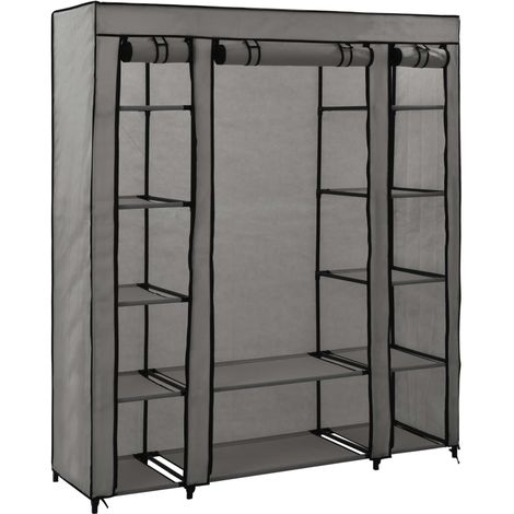 Hommoo Wardrobe with Compartments and Rods Grey 150x45x176 cm Fabric VD23549