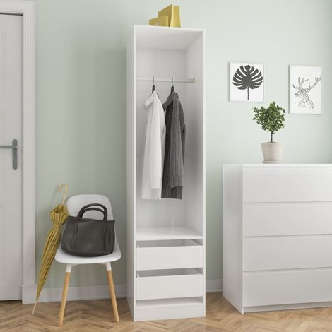 Hommoo Wardrobe with Drawers High Gloss White 50x50x200 cm Chipboard VD31652