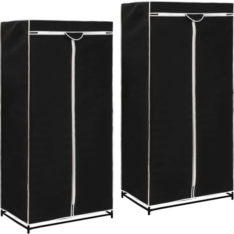 Hommoo Wardrobes 2 pcs Black 75x50x160 cm VD23554