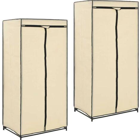 Hommoo Wardrobes 2 pcs Cream 75x50x160 cm VD23556