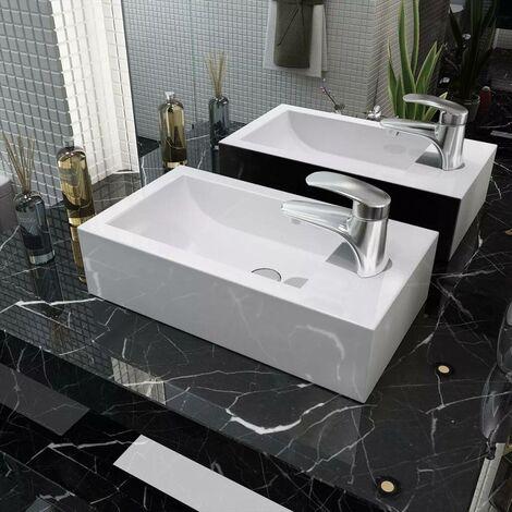 Hommoo Waschbecken Rechteckig mit Hahnloch Keramik Weiß 46x25,5x12 cm