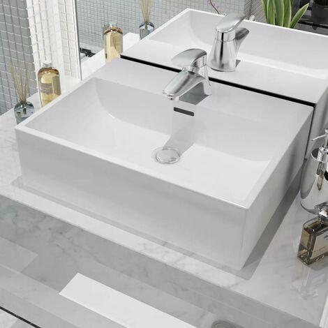 Hommoo Waschbecken Rechteckig mit Hahnloch Keramik Weiß 51,5 x 38,5 x 15 cm DDH04470
