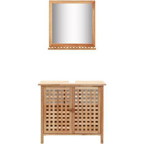 Hommoo Waschbeckenunterschrank mit Spiegel Walnussholz Massiv VD13461