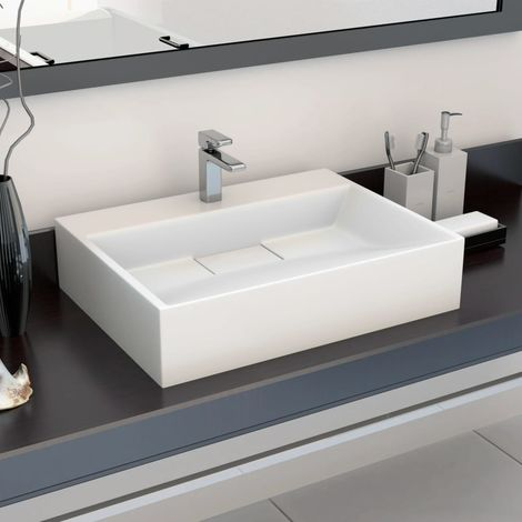Hommoo Wash Basin 50x38x13 cm Mineral Cast/Marble Cast White